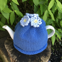 Blue Tea Cosy With Crochet Blue Flowers