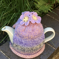 Pastel Tea Cosy with Crochet Flowers, Large 6-8 Cup Tea Cozy