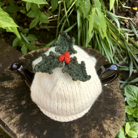 One Cup Christmas Holly Tea Cosy, Small Christmas Tea Cozy