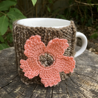 Peach Flower Mug Cosy, Gift for Teacher