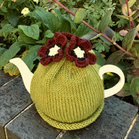 Lime Green Tea Cozy With Hellebore Flowers, Christmas Rose Tea Cosy