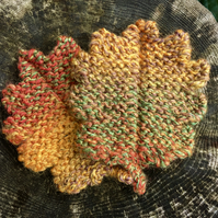 Set of Two Autumn Oak Leaf Coasters, Knitted Woodland Leaves