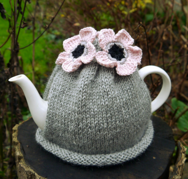 Grey Tea Cosy with Blush Pink Flowers, Knitted Tea Cosies