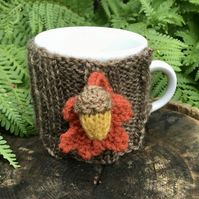 Woodland Mug Cosy, Rustic Acorn and Oak Leaf Cup Cozy
