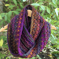 Crochet Infinity Scarf in Bright Jewel Tones