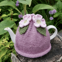 Hand Knitted Pink Blossom Tea Cosy with Green Leaves
