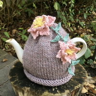 Clematis Tea Cosy Made With Eco Friendly Recycled Wool and Cotton Yarns
