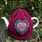 Burgundy Tea Cosy with Crochet Vintage Heart, Free UK Postage