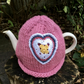 Crochet Heart Tea Cosy, Pink Vintage Heart Tea Cozy