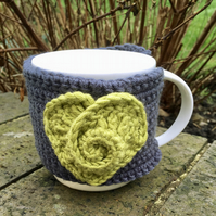 Rose Heart Mug Cosy, Lime Green Crochet Heart Valentine's Gift