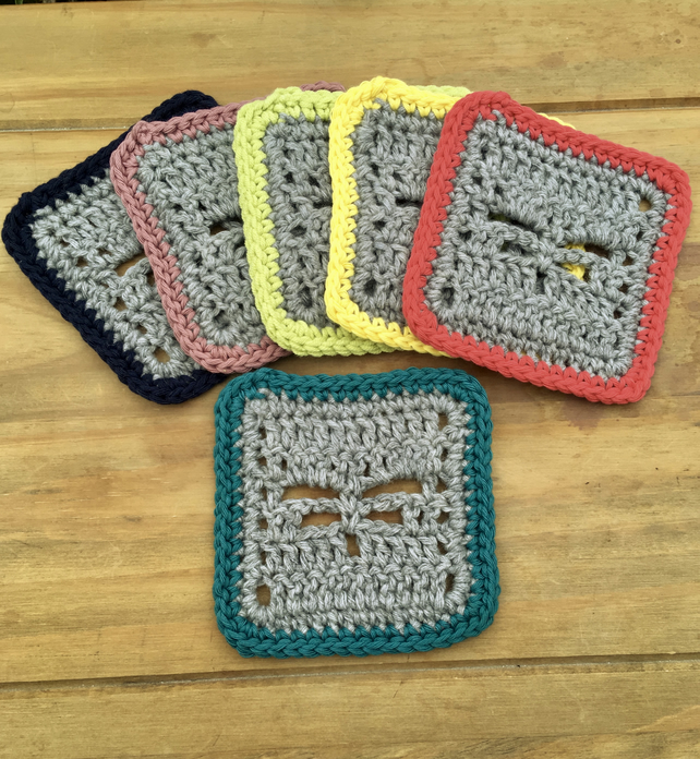 Ethical Dragonfly Coasters, Set of Six Recycled Yarn Eco Friendly Gifts
