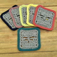 SALE - Ethical Dragonfly Coasters, Set of Six Recycled Yarn Eco Friendly Gifts