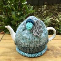 Turquoise and Grey Tea Cosy with Oak Leaf and Acorn, Autumn Tea Cozy