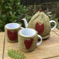 Recycled Yarn, Folk Art Tea Cosy and Mug Set, Rustic Chicken and Heart Set