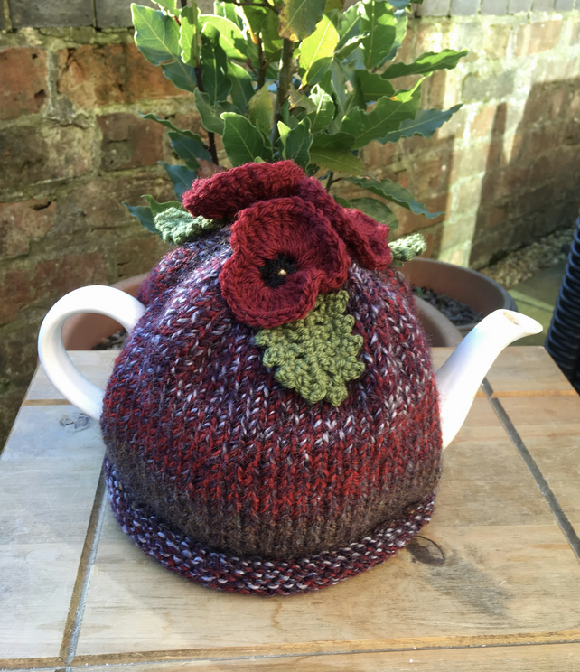 Knitted Red Pansy Tea Cosy, Crochet Dark Red Pansies