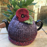 Small Pansy Tea Cosy. One Cup Knitted Red Flower Teapot Cozy