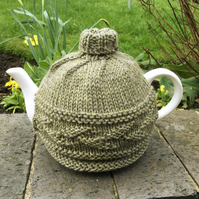 Sage Green Tea Cosy, Peruvian Highland Wool Knitted Tea Cozy with Leaf Design