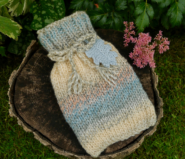 Knitted Mini Hot Water Bottle Cosy with Oak Leaf, 500ml Bottle Included