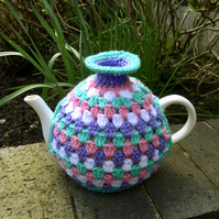 Contemporary Crochet Tea Cosy, Modern Granny Stripe Tea Cozy