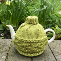 Knitted Merino Tea Cosy with Leaf Pattern and Roll Neck