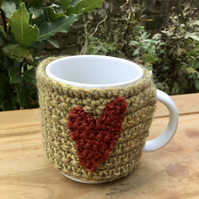 Folk Art Heart Mug Cosy, Recycled Yarn