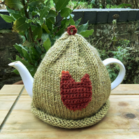 Rustic Tea Cosy, Folk Art Recycled Yarn Tea Cozy