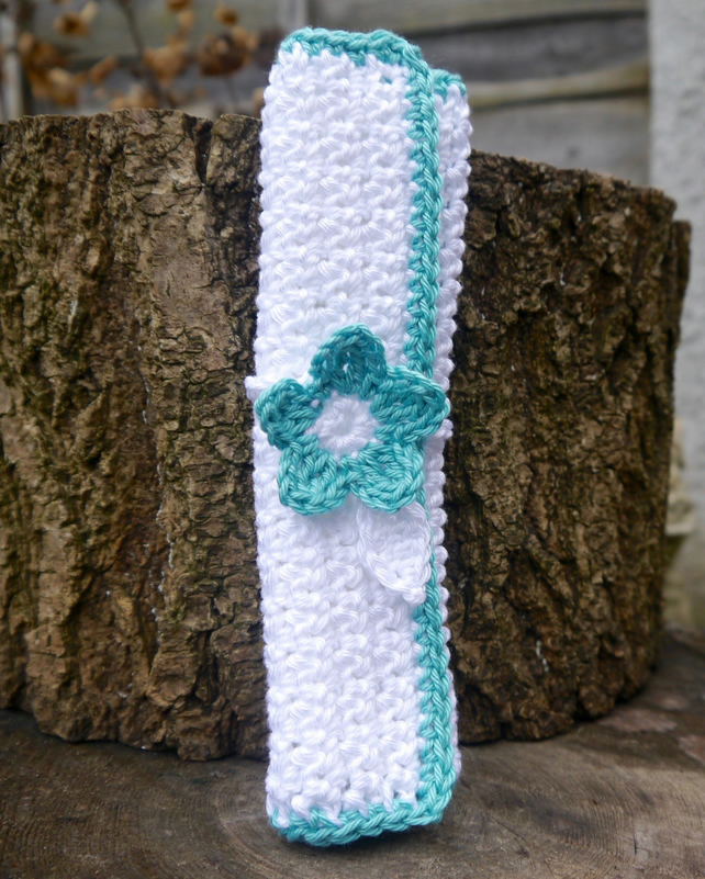 Crochet Facecloth and Flower Bookmark Gift Set