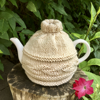 Merino Leaf Design Tea Cosy, Hand Knitted Cream Tea Cozy