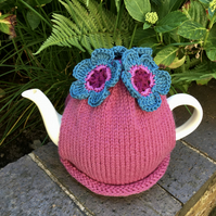 Teal and Magenta Tea Cosy, Crochet Flower Tea Cozy