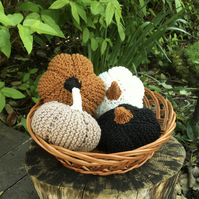 Decorative Pumpkins, Set of Four Hand Knitted Autumn Pumpkins