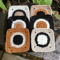 Contemporary Crochet Coasters, Set of Six