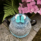 Turquoise Butterfly Tea Cosy, Small One Cup Teapot Cosy