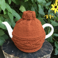 Russet Leaf Design Tea Cosy, Autumnal Roll Neck Wool Tea Cozy