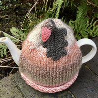 Coral Acorn Tea Cosy, Autumn Oak Leaf Tea Cozy