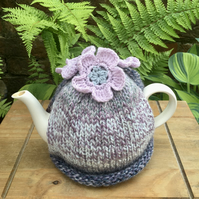 Pastel Tea Cosy with Pale Lilac Flowers