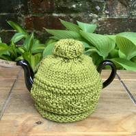 Small Lime Green Teapot Cosy, One Cup Roll Neck Tea Cozy