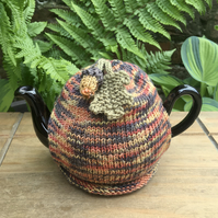 Small Autumn Themed Tea Cosy, One Cup Oak and Acorn Teapot Cosy