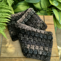 Dark Crochet Infinity Scarf, Brown and Black Chunky Cowl