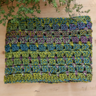 Hedgerow Green Crochet Scarf, Crochet Infinity Scarf