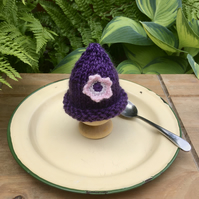 SALE - Purple Hand Knitted Egg Cosy, Crochet Flower Egg Cozy