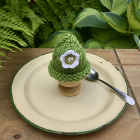 Crochet Flower Egg Cosy, Lime and White Egg Cosy