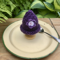 SALE - Purple Flower Egg Cosy, Easter Decorations
