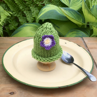 SALE - Lime Green Egg Cosy With Purple Flower, Hand Knitted Egg Cozy