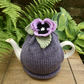 Lilac Pansy Tea Cosy, Grey Alpaca Hand Knitted Teapot Cozy