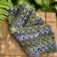Wool Crochet Infinity Scarf, Moss, Lichen Green and Grey Cowl