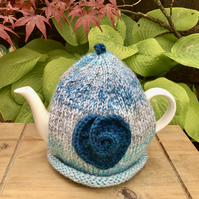Teal Crochet Heart Tea Cosy