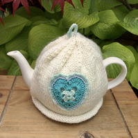 Turquoise Heart Tea Cosy, Vintage Crochet Tea Cozy