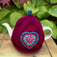 Burgundy Tea Cosy with Crochet Vintage Heart