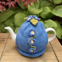Forget-me-not Tea Cosy, Blue Flower Tea Cozy