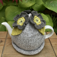 Crochet Flower Tea Cosy, Taupe and Pistachio Flower Tea Cozy